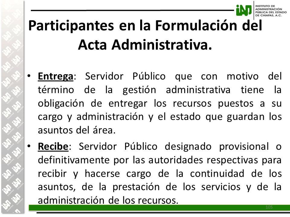 Participantes en la Formulación del Acta Administrativa.