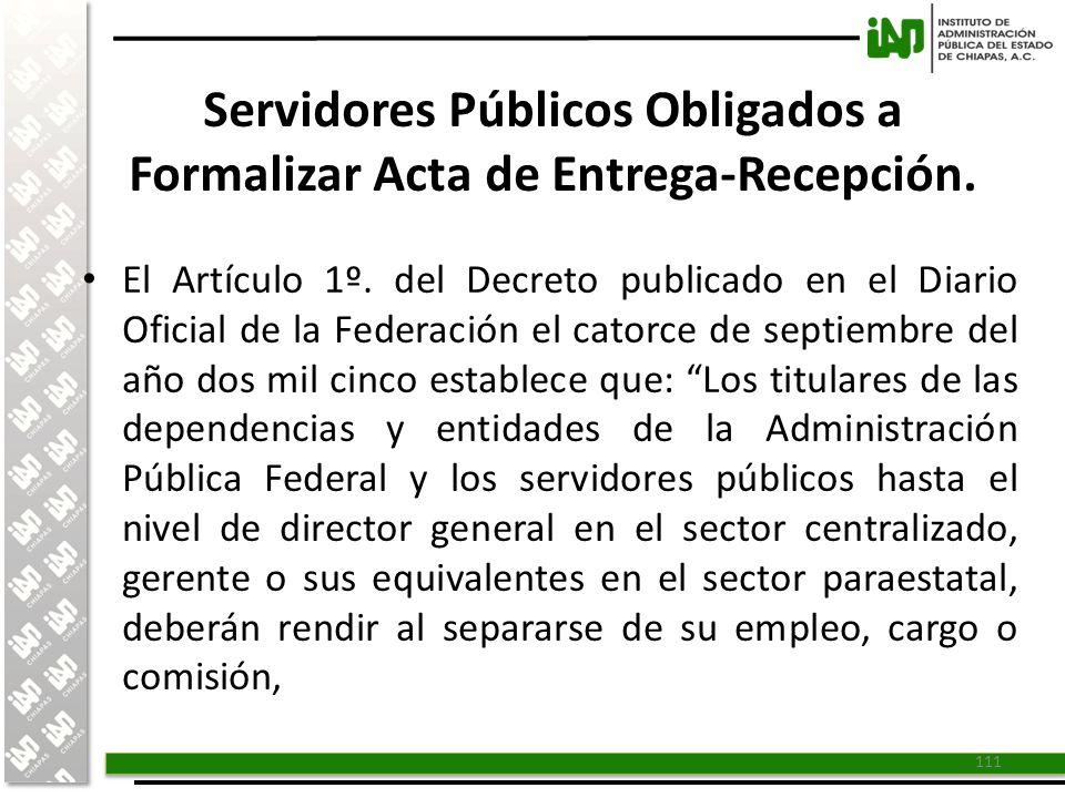Servidores Públicos Obligados a Formalizar Acta de Entrega-Recepción.