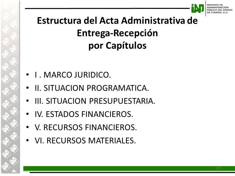 Estructura del Acta Administrativa de Entrega-Recepción por Capítulos