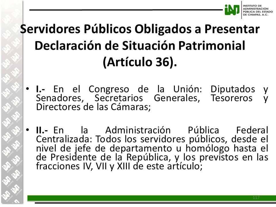 Servidores Públicos Obligados a Presentar Declaración de Situación Patrimonial (Artículo 36).