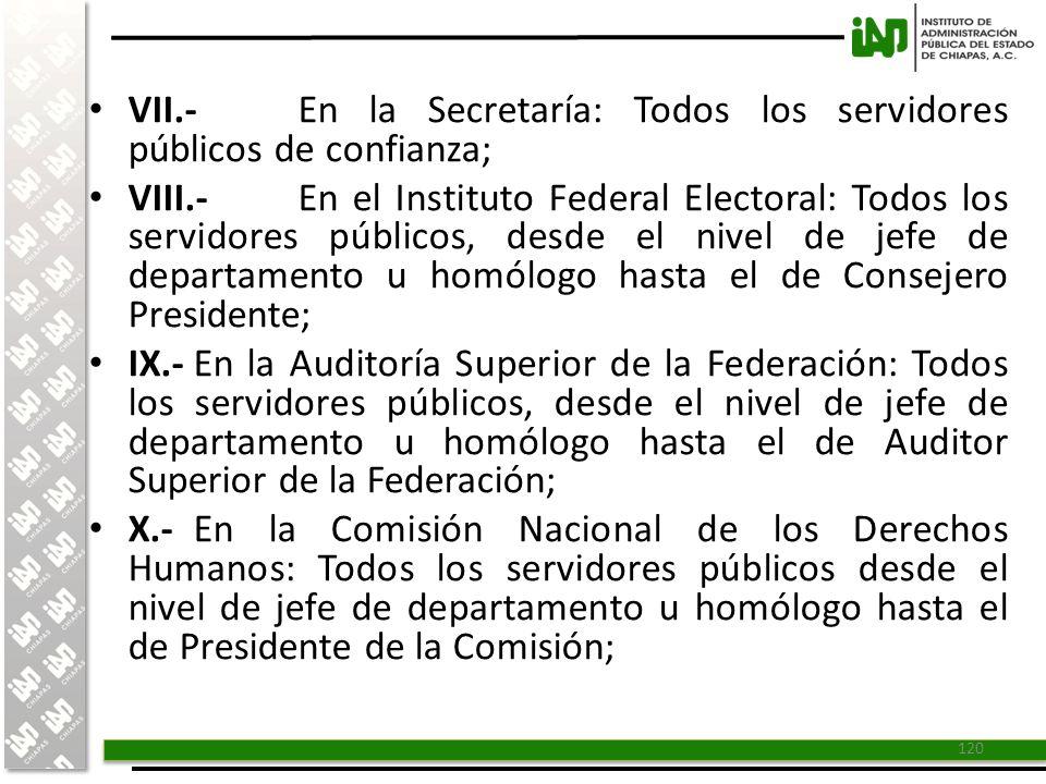 VII.- En la Secretaría: Todos los servidores públicos de confianza;
