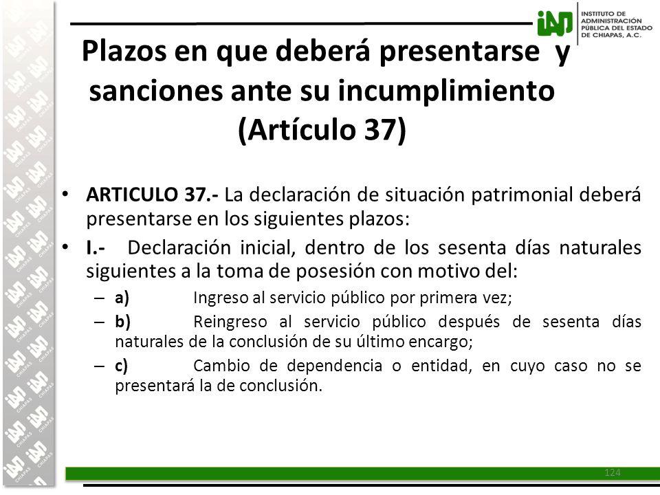 Plazos en que deberá presentarse y sanciones ante su incumplimiento (Artículo 37)