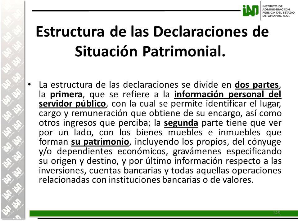 Estructura de las Declaraciones de Situación Patrimonial.