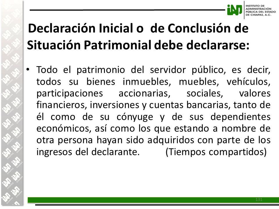 Declaración Inicial o de Conclusión de Situación Patrimonial debe declararse: