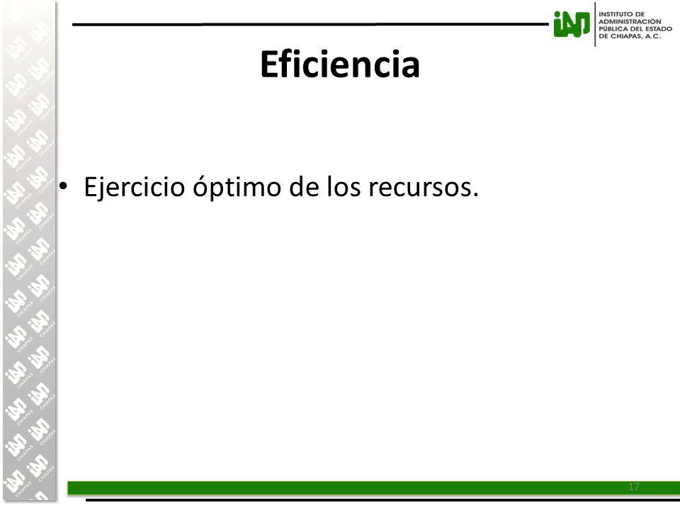 Eficiencia Ejercicio óptimo de los recursos.