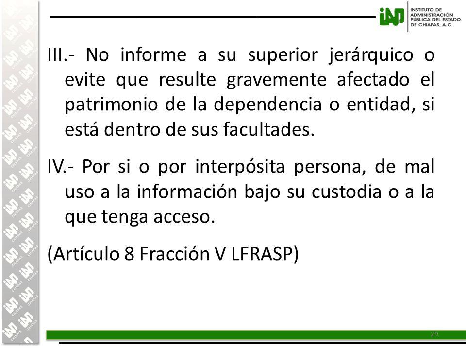 III.- No informe a su superior jerárquico o evite que resulte gravemente afectado el patrimonio de la dependencia o entidad, si está dentro de sus facultades.