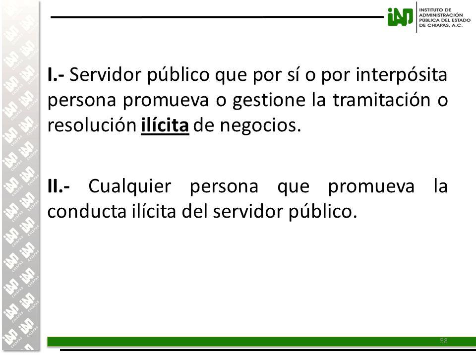 I.- Servidor público que por sí o por interpósita persona promueva o gestione la tramitación o resolución ilícita de negocios.