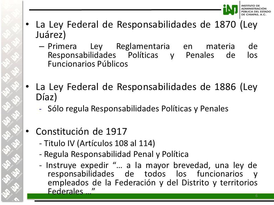 La Ley Federal de Responsabilidades de 1870 (Ley Juárez)