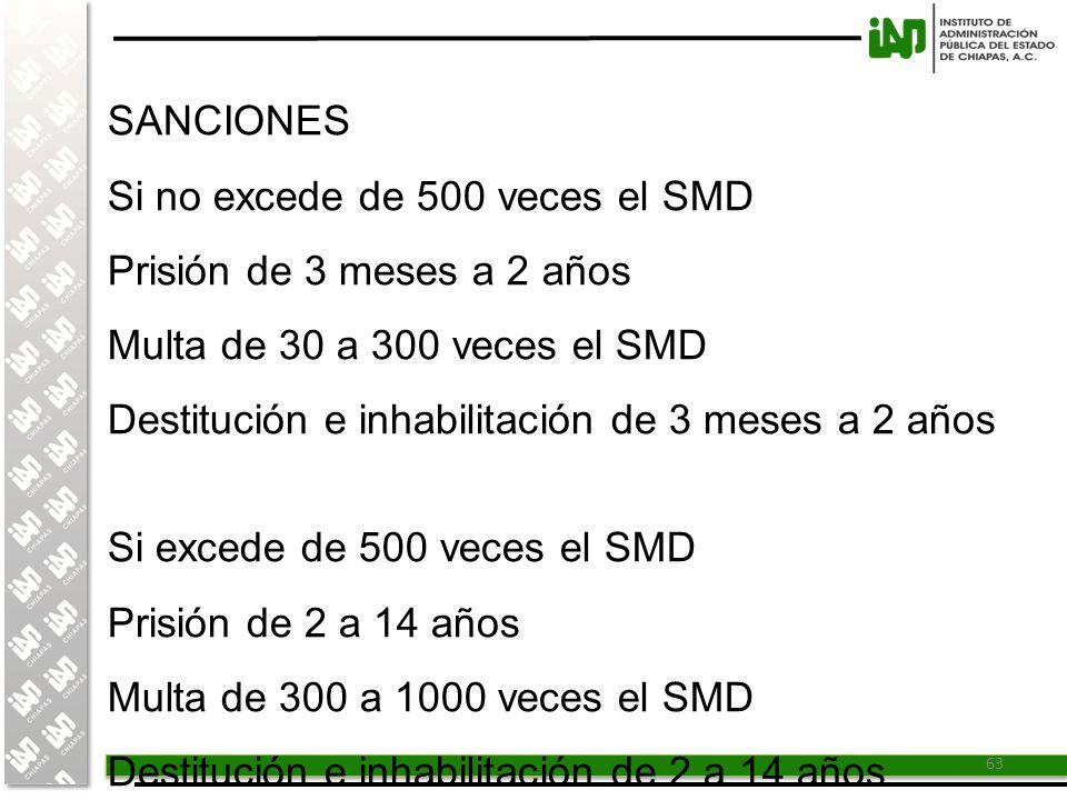 SANCIONES Si no excede de 500 veces el SMD. Prisión de 3 meses a 2 años. Multa de 30 a 300 veces el SMD.