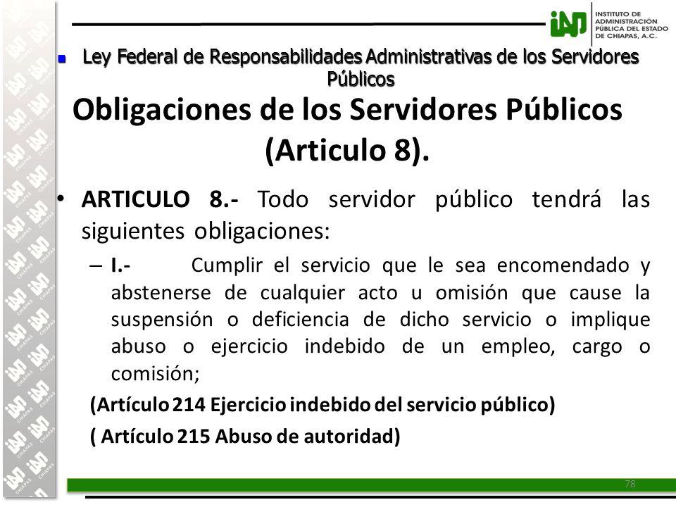 Obligaciones de los Servidores Públicos (Articulo 8).