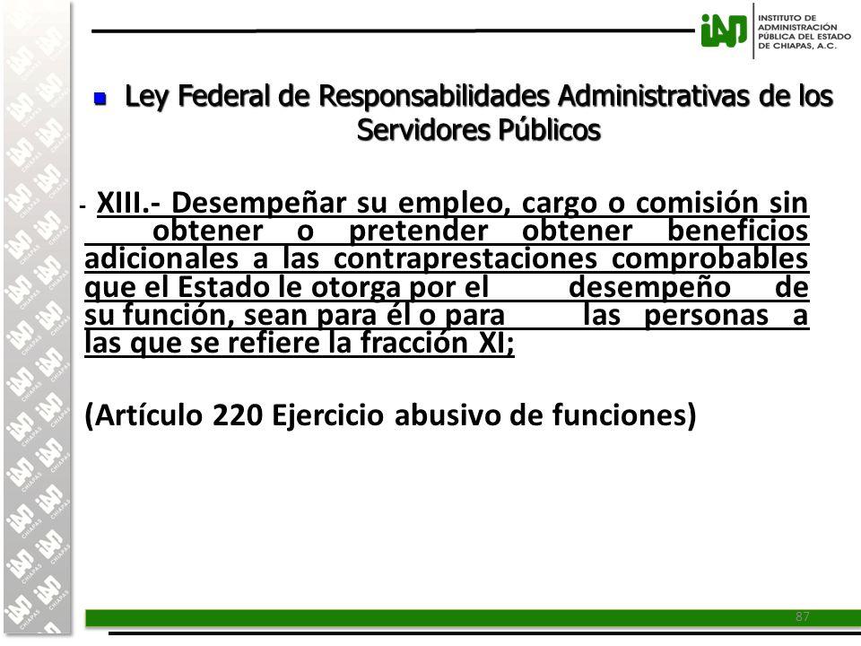 (Artículo 220 Ejercicio abusivo de funciones)