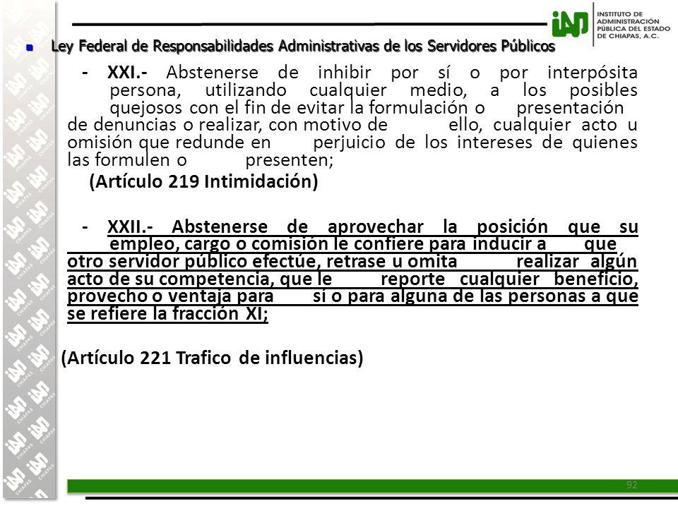 (Artículo 219 Intimidación)