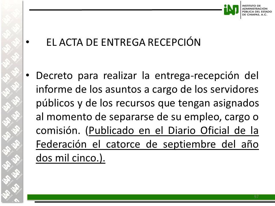 EL ACTA DE ENTREGA RECEPCIÓN