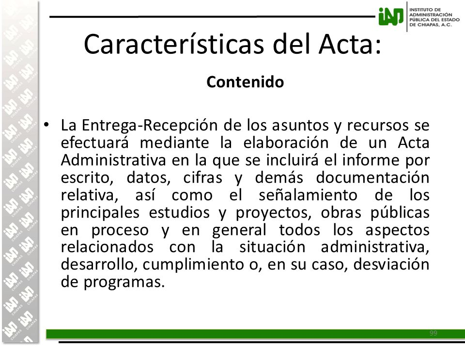 Características del Acta:
