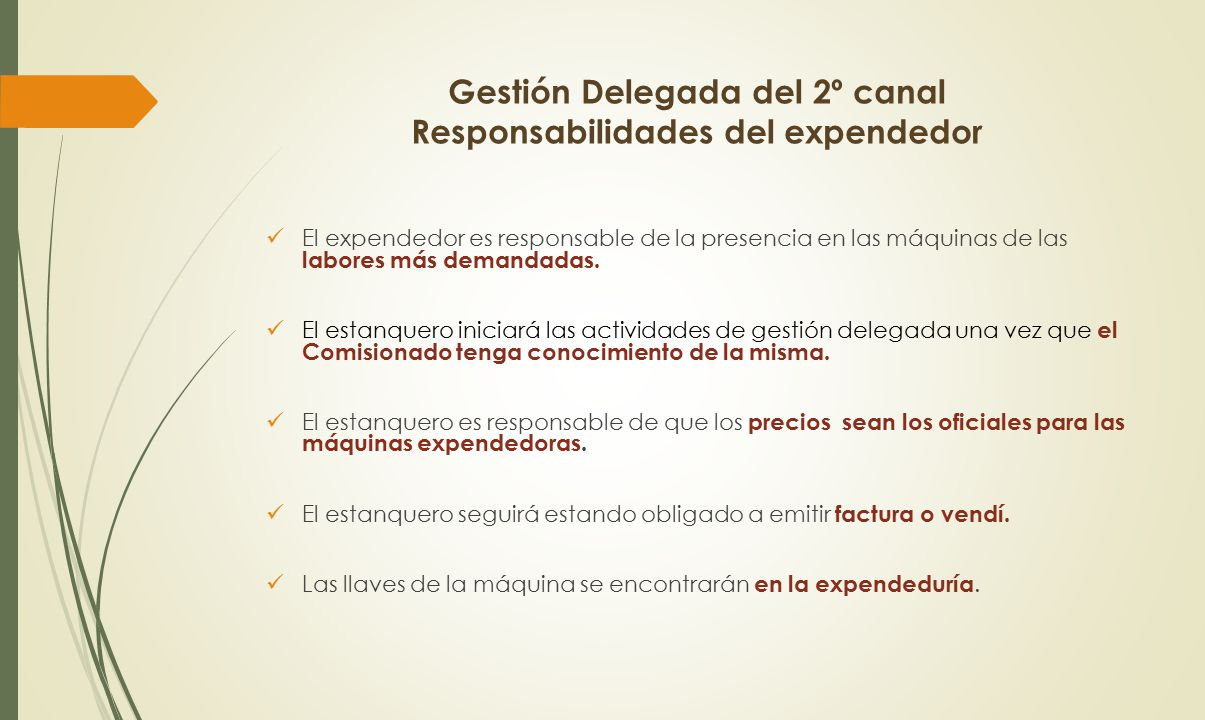 Gestión Delegada del 2º canal Responsabilidades del expendedor