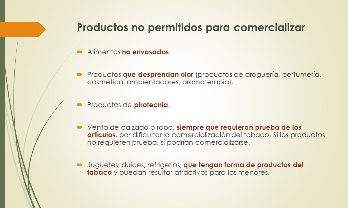 Productos no permitidos para comercializar