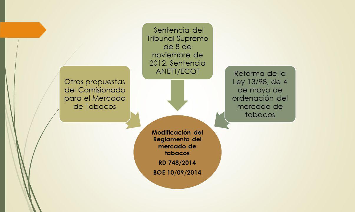 Modificación del Reglamento del mercado de tabacos