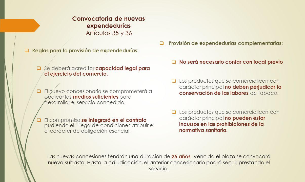 Convocatoria de nuevas expendedurías Artículos 35 y 36