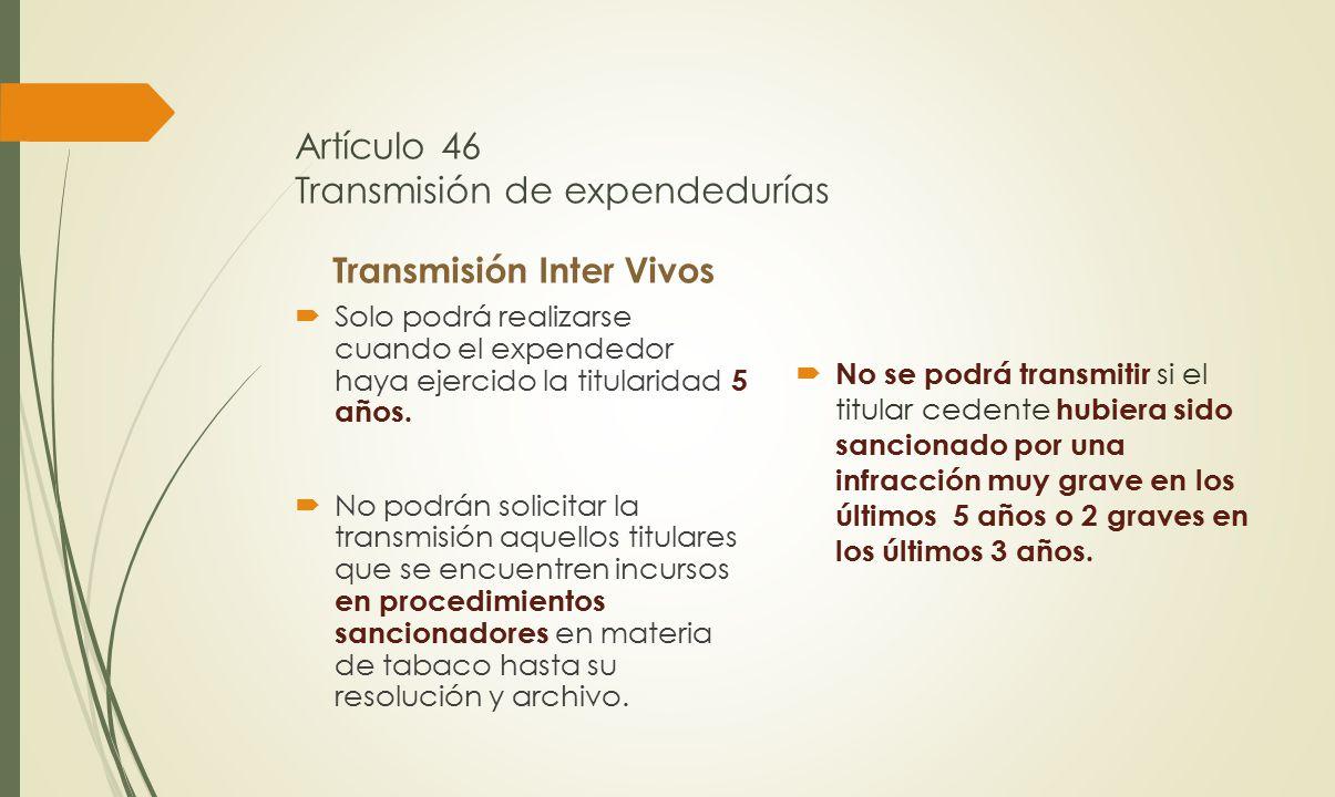 Artículo 46 Transmisión de expendedurías