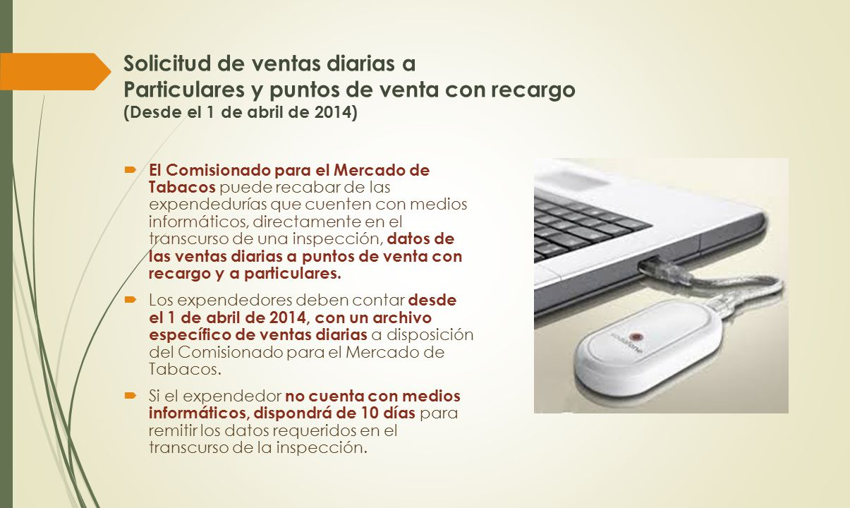 Solicitud de ventas diarias a Particulares y puntos de venta con recargo (Desde el 1 de abril de 2014)