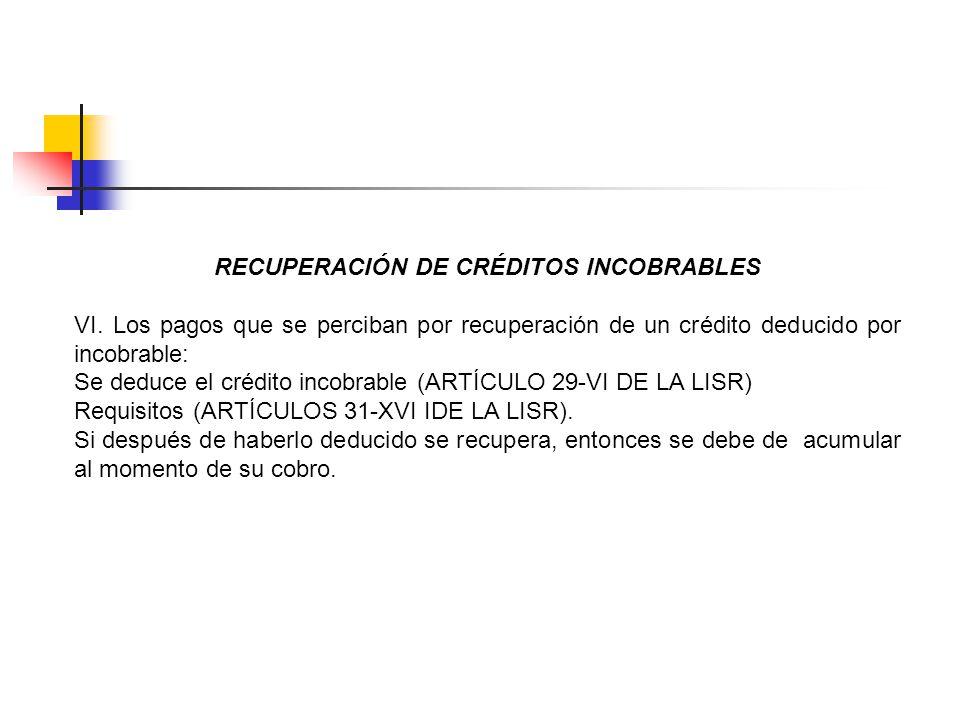 RECUPERACIÓN DE CRÉDITOS INCOBRABLES