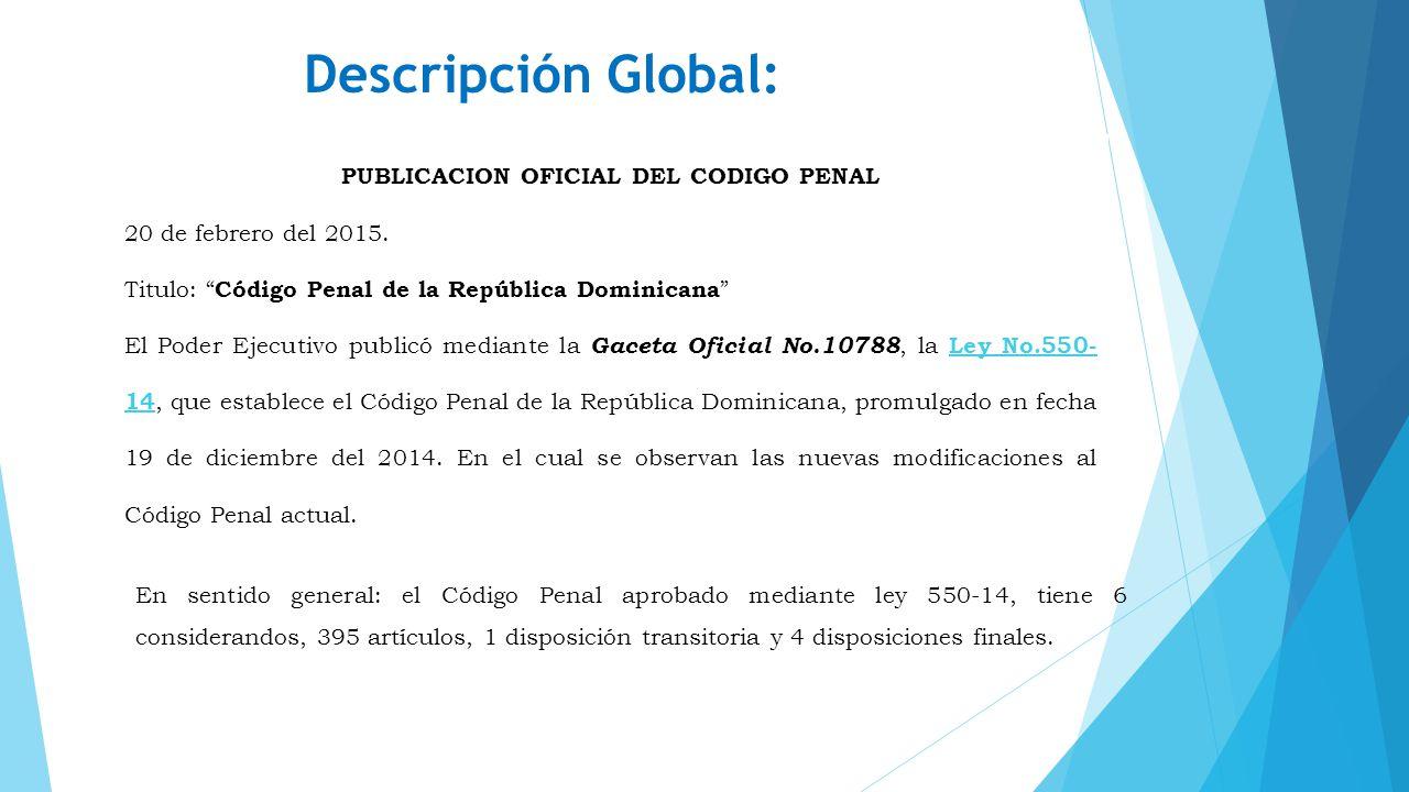 PUBLICACION OFICIAL DEL CODIGO PENAL
