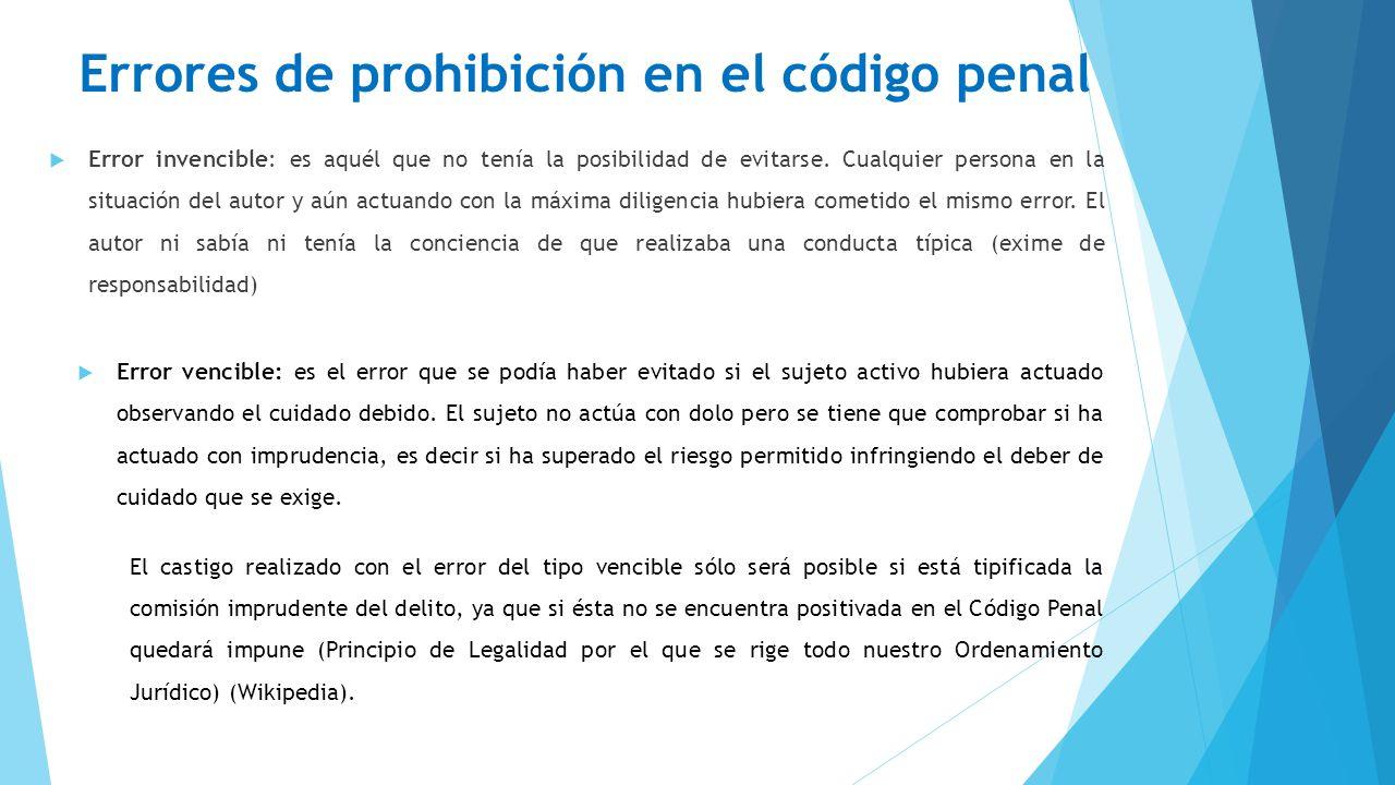 Errores de prohibición en el código penal
