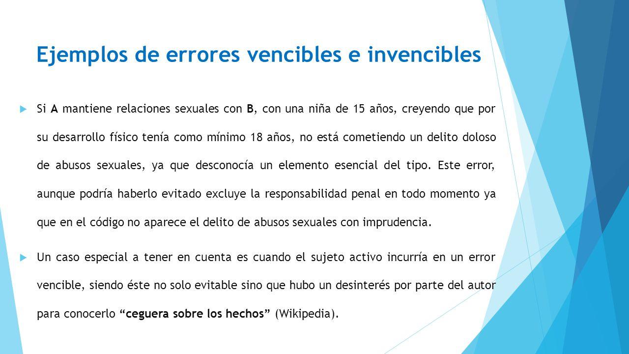 Ejemplos de errores vencibles e invencibles