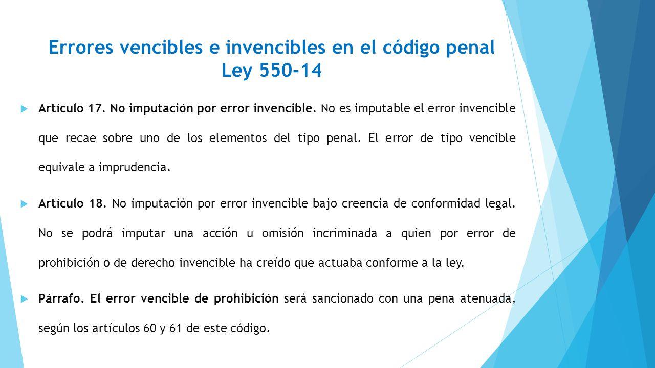 Errores vencibles e invencibles en el código penal Ley 550-14