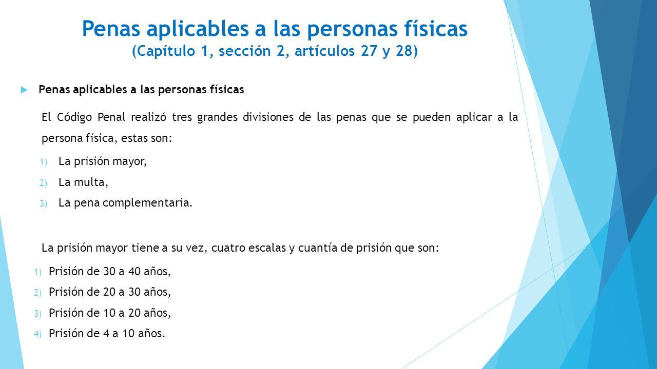 Penas aplicables a las personas físicas (Capítulo 1, sección 2, artículos 27 y 28)