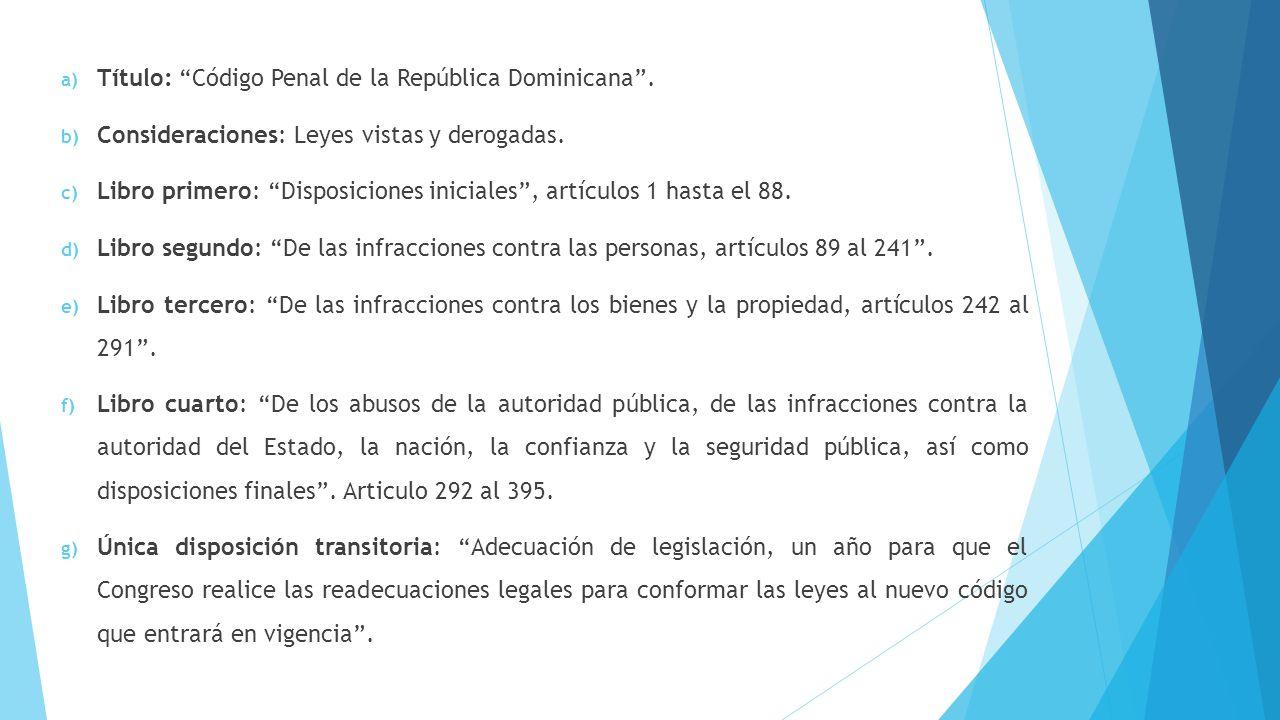 Título: Código Penal de la República Dominicana .