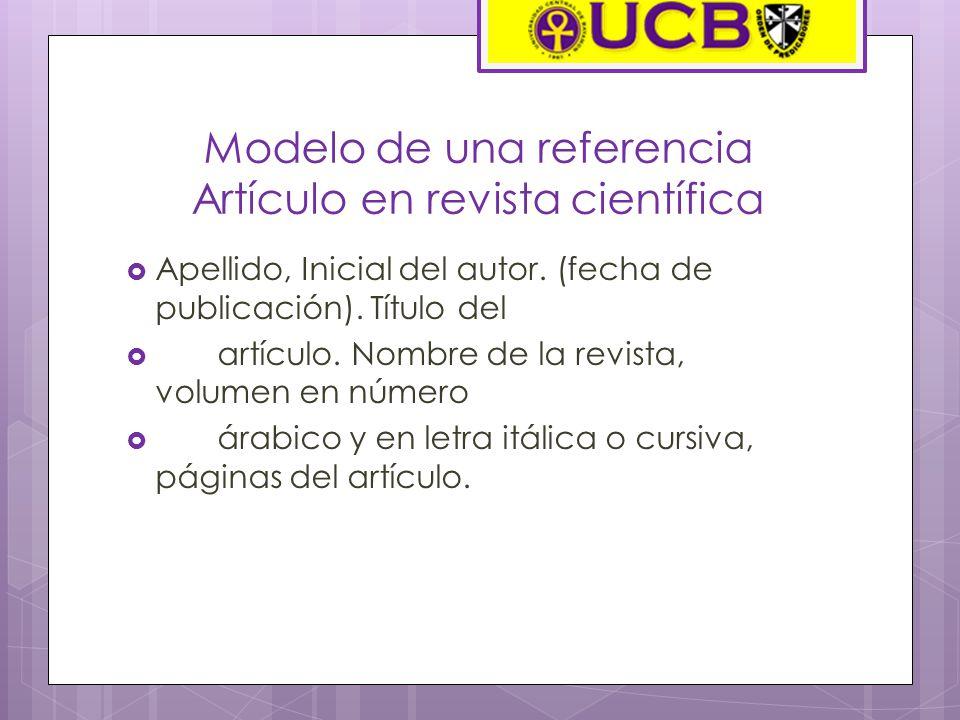 Modelo de una referencia Artículo en revista científica