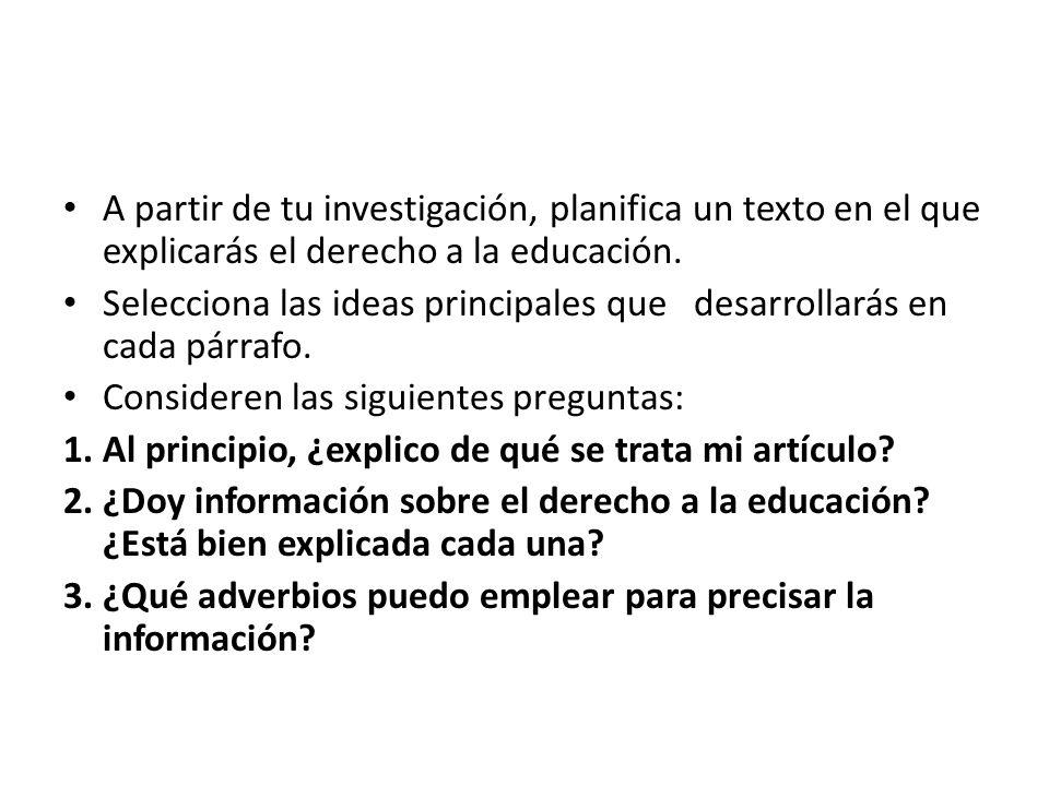 A partir de tu investigación, planifica un texto en el que explicarás el derecho a la educación.