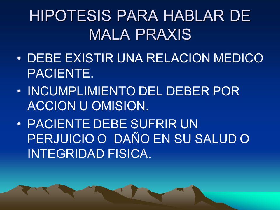 HIPOTESIS PARA HABLAR DE MALA PRAXIS