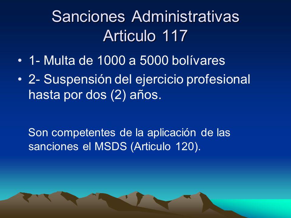 Sanciones Administrativas Articulo 117
