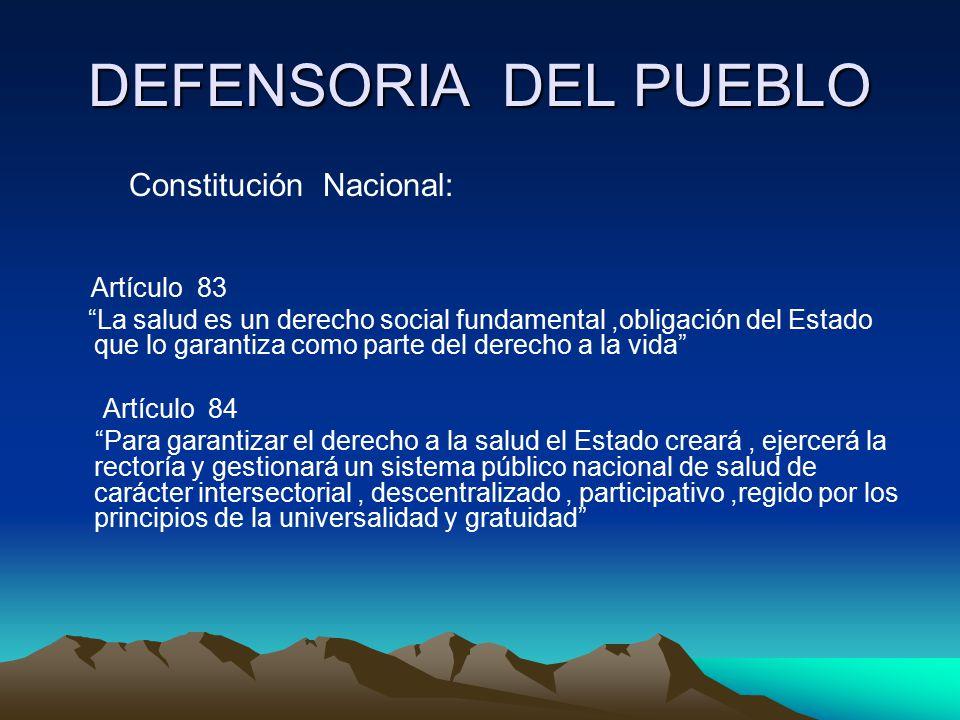 DEFENSORIA DEL PUEBLO Constitución Nacional: