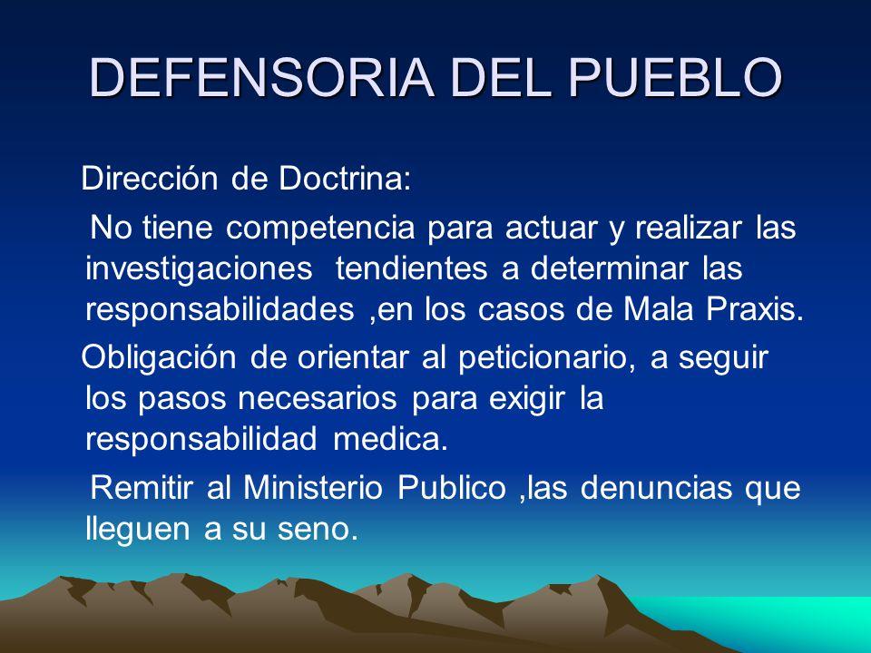 DEFENSORIA DEL PUEBLO Dirección de Doctrina: