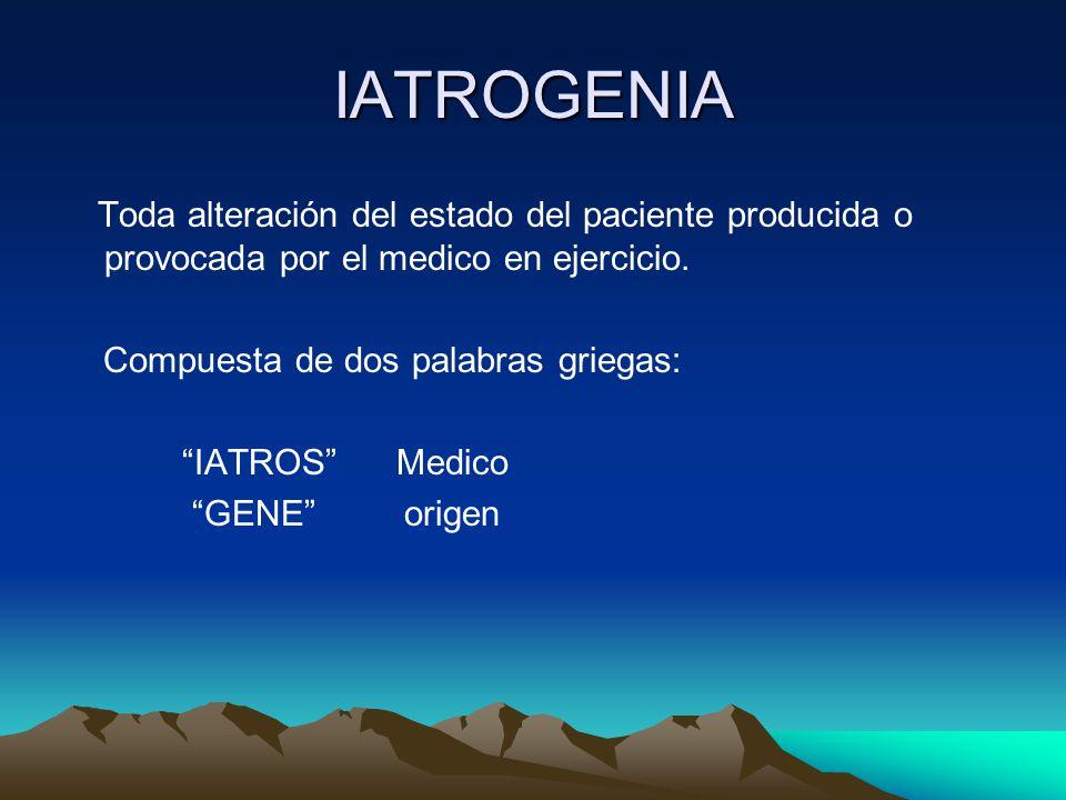 IATROGENIA Compuesta de dos palabras griegas: IATROS Medico