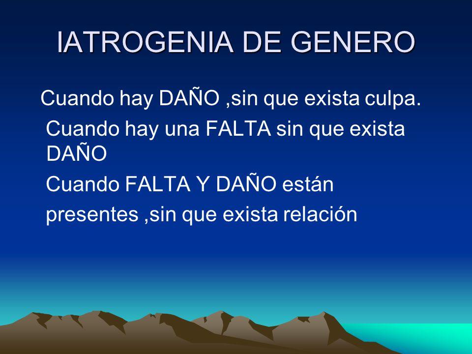 IATROGENIA DE GENERO Cuando hay DAÑO ,sin que exista culpa.