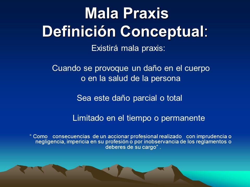 Mala Praxis Definición Conceptual: