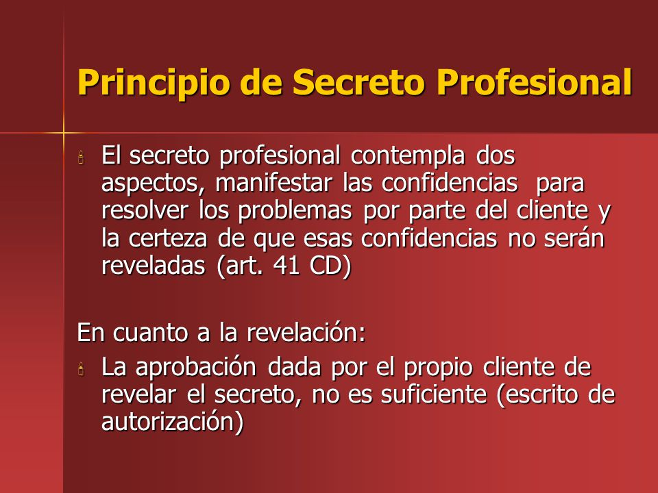 Principio de Secreto Profesional
