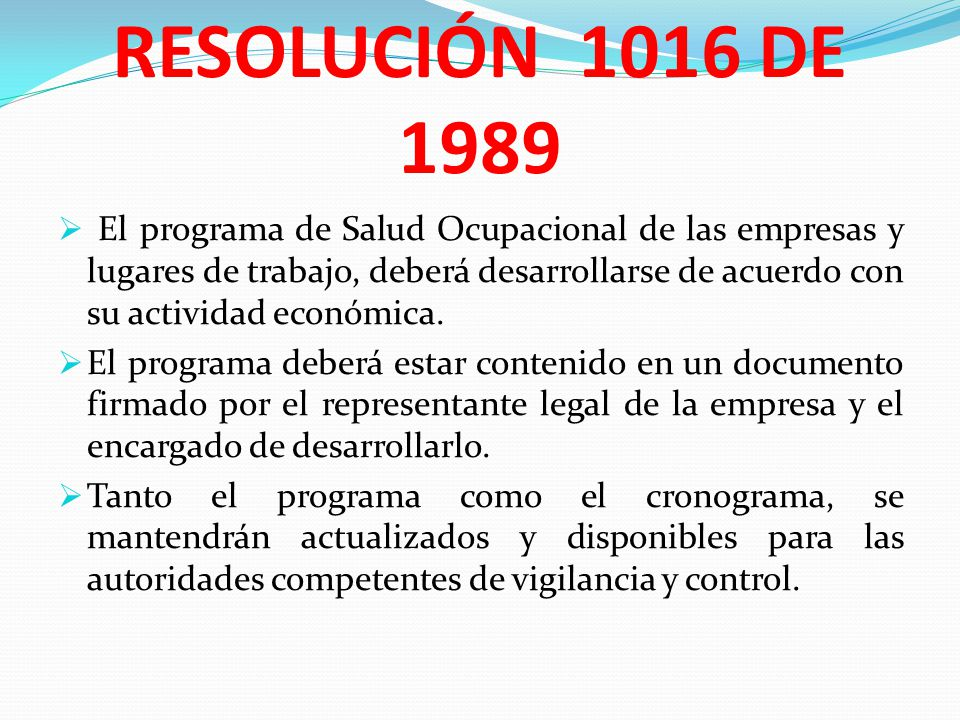 RESOLUCIÓN 1016 DE 1989