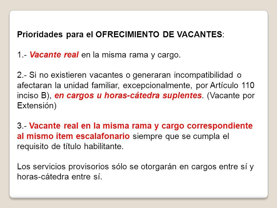 Prioridades para el OFRECIMIENTO DE VACANTES: