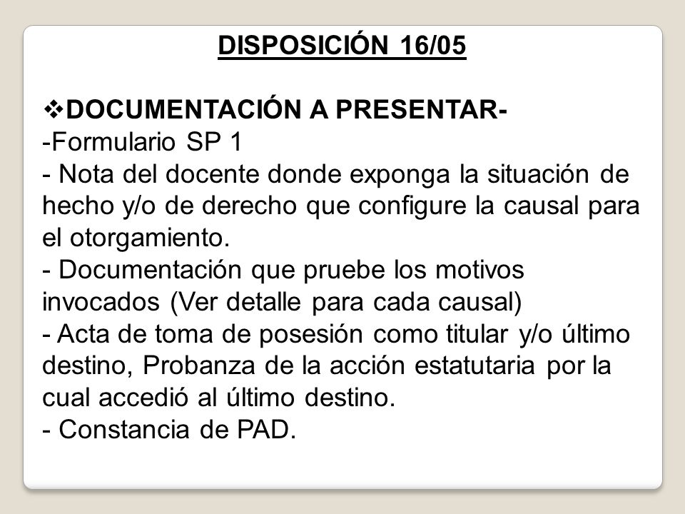 DOCUMENTACIÓN A PRESENTAR- Formulario SP 1
