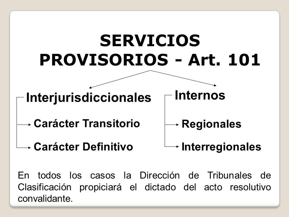 SERVICIOS PROVISORIOS - Art. 101 Interjurisdiccionales