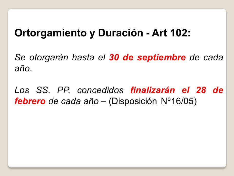 Ortorgamiento y Duración - Art 102:
