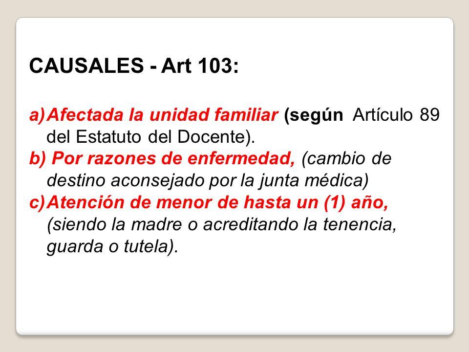 CAUSALES - Art 103: Afectada la unidad familiar (según Artículo 89 del Estatuto del Docente).