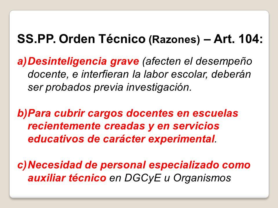 SS.PP. Orden Técnico (Razones) – Art. 104: