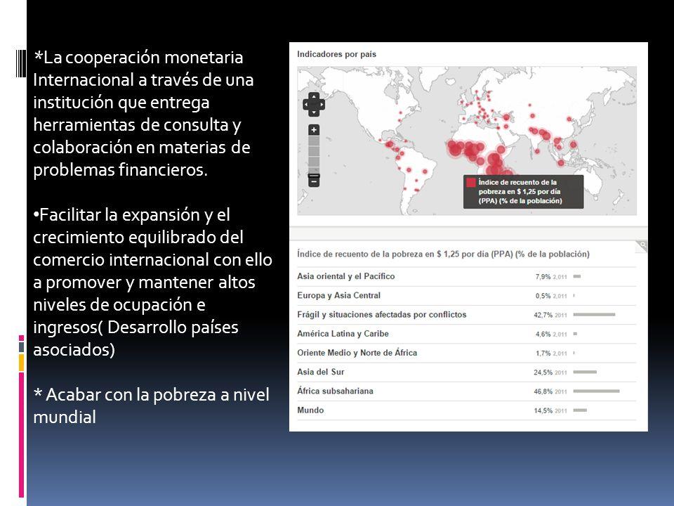 *La cooperación monetaria Internacional a través de una institución que entrega herramientas de consulta y colaboración en materias de problemas financieros.