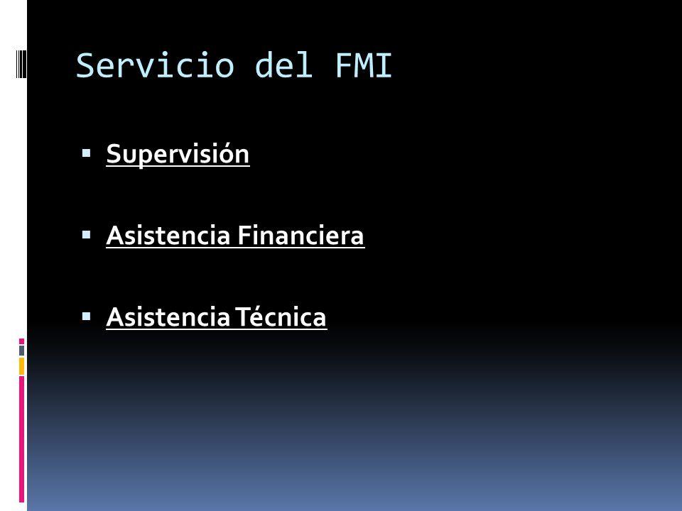 Servicio del FMI Supervisión Asistencia Financiera Asistencia Técnica